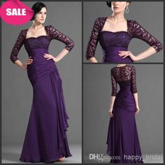 Wholesale Mother of the Bride Dresses - Buy 2014 Exquisite Fashion Mermaid Sweetheart Purple Chiffon Ribbon Fold 3/4Long Sleeve Floor Length Mother Of The Bride Dresses, $105.96   DHgate