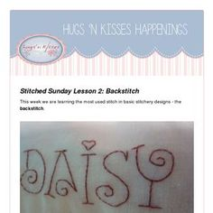 Stitched Sunday Lesson Backstitch This week we are learning the most used stitch in basic stitchery designs - the backstitch. Wool Embroidery, Ribbon Embroidery, Embroidery Stitches, Hugs N Kisses, Tiny Eye, Thick Thread, Sewing Box, Hand Quilting, Fun Learning