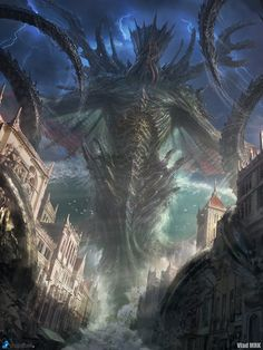 Artist: Vlad Marica aka Vlad MRK - Title: Dagon, The Sea Emperor adv - Card: Torfgar the Maelstrom (Liquidating)