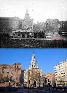 1930 - Historias matritenses- Iglesia de Nuestra Señora de la Paz, en el otro lado de la calle Doctor Esquerdo. Formaba parte del asilo de San José y del Colegio de la Paz. En primer plano las infraviviendas que había en la futura prolongación de O'Donnell.