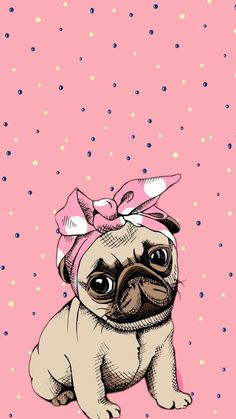 Cute cartoon pug dog which would look great as an adorable phone wallpaper Tumblr Wallpaper, Wallpaper Pug, Cute Wallpaper Backgrounds, Cute Cartoon Wallpapers, Disney Wallpaper, Pattern Wallpaper, Iphone Wallpaper, Iphone Backgrounds, Cartoon Mignon