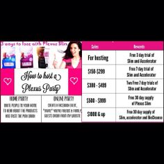 Host your own Plexus Slim party online! Click Here for details: www.plexuswithtess.com Find me on FB at www.facebook.com/plexusslimwithtess
