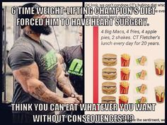 CT Fletcher, a 6 time weight-lifting World Champion, ate 10-15 double cheese burgers a day for 20 yrs & consequently was FORCED to have Heart Surgery.  Do you think you can eat whatever you want without consequences?!? http://ctfletcher.com/about-ct/ #yourtomorrowdependsonyourchoicestoday #VE #dietandexercisematter #healthyliving #tnation #ZEROexcuses #alegend #ctfletcher #worldsstrongestman #beast #fuckmediocrity #overtrainingisamyth