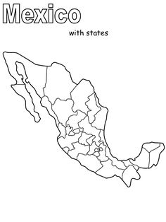 Map Of Mexico States Black And White