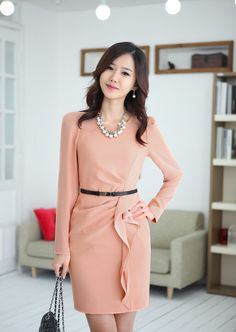 Good example of professional business attire. This is a color that is universally flattering. Professional career fashion for women in business