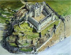 Harlech Castle, A reconstruction as it may have appeared about The main… Fantasy City, Fantasy Castle, Fantasy Places, Medieval Life, Medieval Castle, Medieval Fantasy, Palaces, Castle Layout, Welsh Castles