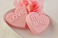 Conversation Heart Soap - Set of 2 (Be Mine and Love)