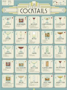 Inspired by the hay-days of the cocktail, this Roaring Twenties, Art Deco inspired design showcases 25 cocktails that are worth knowi… Cocktail Drinks, Cocktail Recipes, Alcoholic Drinks, Beverages, Bartender Drinks, Cocktail Night, Hey Bartender, Popular Cocktails, Classic Cocktails