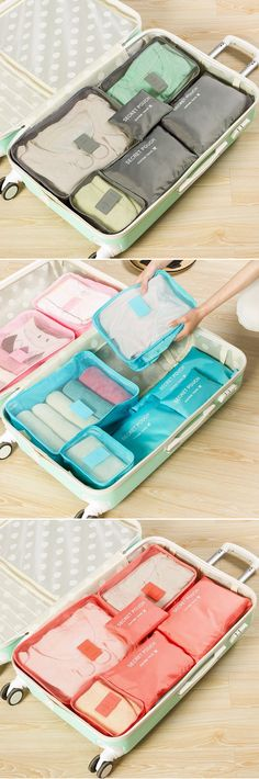 US$8.69  6 PCS Oxford Travel Waterproof Storage Bag Large Capacity Folding Bag Oxford Storage Container