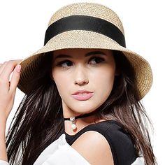 0d2acdf960309 FURTALK Womens Beach Sun Straw Hat UPF50 Travel Foldable ... https