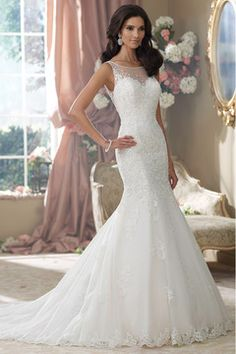 2014 Bateau Wedding Dress Embellished Bodice With Beaded Applique Tulle Skirt White US$ 284.99 EQP6MARLDL - EllePoque.com for mobile