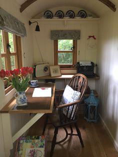 Plankbridge Writer's Hut interior. www.plankbridge.com