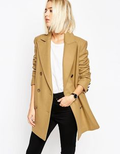 a28bad140aa ASOS Peacoat With Double Breast In Wool Mix at asos.com