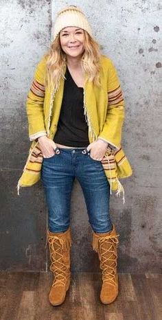 Front Lace Minnetonka Knee-Hi Fringed Top Suede Boot Moccasin- http://www.indianvillagemall.com/mocs/ladykneehiboot.html