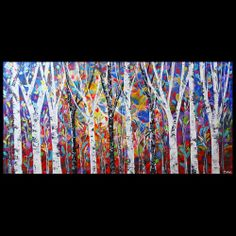 Trees Oil Painting Original Knife Texture Huge Modern Abstract Art Canvas Deco | eBay