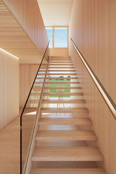 Extremely strong, new BauBuche laminated veneer lumber can carry heavier loads than softwood products. Painted Stairs, Wooden Stairs, Cantilevered Stairs Detail, Stairs Canopy, Laminated Veneer Lumber, Building Stairs, Beautiful Stairs, Basement Layout, Stair Detail