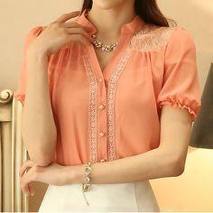 Women Blouse Spring Summer Tops Casual Lace Shirts Slim Chiffon Blouse Women Shirt