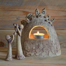 Pottery Houses, Ceramic Houses, Ceramic Pots, Ceramic Clay, Ceramic Pottery, Cement Art, Ceramic Angels, Concrete Crafts, Hand Built Pottery