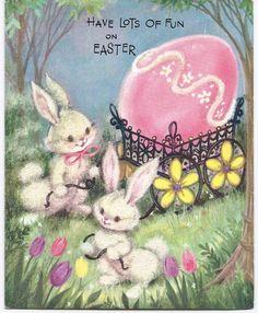 Vintage  Easter Greeting Card Rabbits