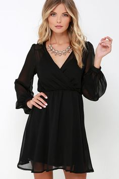 Author Unknown Black Long Sleeve Dress at Lulus.com!