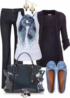 White blouse, black pants, purple jacket, handbag and slippers for fall