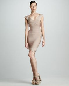 Best Husband Ever! Can't wait to wear it <3 Cap-Sleeve Bandage Dress by Herve Leger
