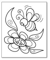 bumble bee peace sign coloring page