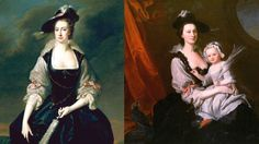 Same Gown! Different Face! Part Two. On the left is Frances Courtenay, née Finch, wife of William Courtenay, 1st Viscount Courtenay, painted by Hudson in 1741. On the right, Anne Tasker Ogle and her daughter, painted by Hudson in the 1740s. Apart from the feather looking a bit worse for wear in the little girl's hand, how similar are these two oufits??! Era Georgiana, Ideal Beauty, 18th Century Fashion, Female Clothing, Girls Hand, Rococo, Fashion Details, Fancy Dress, Art History