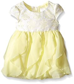 f273737cd2e Youngland Baby Girls  Crochet Lace To Cascading Chiffon Special Occasion  Dress