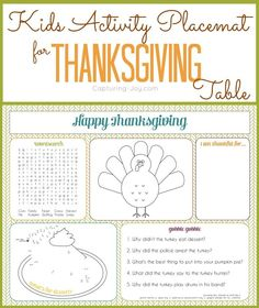 Use this Kids Activity Placemat printable to keep children entertained and busy while at the Thanksgiving dinner table! KristenDuke.com