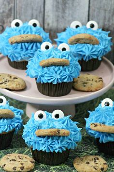 Sesame Street Cookie Monster Cupcakes Tutorial