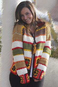 from Catálogo Fernanda Meana Indumentaria Crochet Granny, Crochet Motif, Knit Crochet, Crochet Patterns, Crochet Jacket, Crochet Cardigan, Yarn Projects, Crochet Projects, Knitting Videos