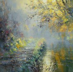 British Artist Rex PRESTON-Morning Mist, Wolfscote Dale