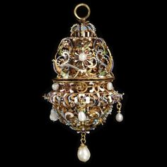 Pomander    Central Europe, 1620-40  Gold with enamel and pearls