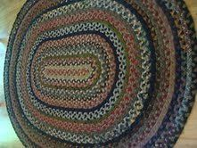Antique Vintage Hand Braided Country Farmhouse Primitive Oval Wool Area Rug