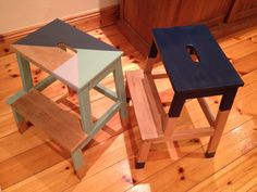 Ikea Step Stool, Step Stools, Diy Stool, Bekvam Stool, Ikea Bekvam, Painted Furniture, Diy Furniture, Stool Makeover, Learning Tower