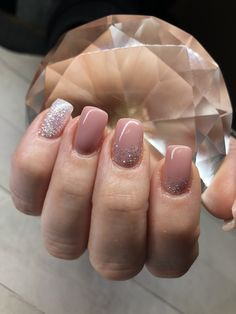 Bliss Gel Nails in Leduc Nude nails with white diamond