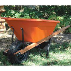 Leonard 6 cu ft Poly Tray Wheelbarrow Pneumatic or Flat-Free Tires Free Tire, Wheelbarrow Garden, Plastic Trays, Summer Garden, Orange Color, Garden Tools, Tired, Flat, Gardening
