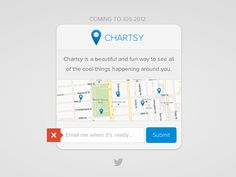 A coming soon page for something larger I'm working on. The little tooltip is an error notification. Feedback welcome.  Check out the real thing here: chartsy.co. Are the pin popups too subtle?   I...