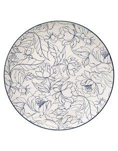 pottery painting ideas Round Ceramic Fleur Plate in Blue & White by Bloomingville Blue Pottery, Ceramic Pottery, Pottery Painting, Ceramic Painting, Colored Vases, China Painting, Traditional Paintings, Teller, Ceramic Plates