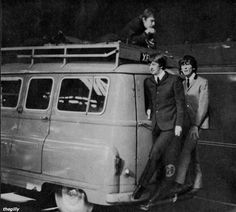 """thegilly:  George and Ringo during the filming of A Hard Day's Night. Scanned from """"The Beatles Film"""" souvenir magazine (1964)."""