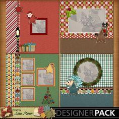 Rustic Holidays 4 page Album, Christmas scrapbook, holiday scrapbook, elf, reindeer, Santa, Gingerbread Man