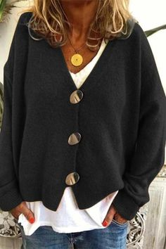 Knitted Buttons Down V-neck Fuzzy Cardigans - shopingnova Knitted Buttons Down V-neck Fuzzy Cardigan Look Fashion, Fashion Outfits, Womens Fashion, Steampunk Fashion, Gothic Fashion, Fall Outfits, Casual Outfits, Dress Casual, Casual Sweaters