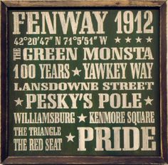 "Country Marketplace - Vintage Boston Fenway Park Wood Sign 18"" x 18"", $45.00 (http://www.countrymarketplaces.com/vintage-boston-fenway-park-wood-sign-18-x-18/)"
