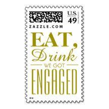 Eat, Drink We Got Engaged Gold Postage Stamps