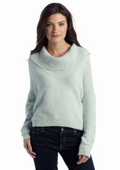 CHAUS  Cowl Neck Marled Knit Sweater