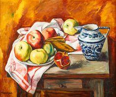 SZYMON MONDZAIN (1888 - 1979)  MARTWA NATURA Z DZBANKIEM   olej, płótno; / 46 x 55 cm
