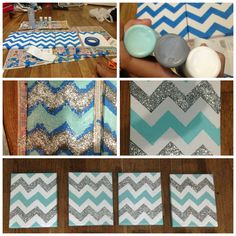 Make the chevron stripes match the colors of the room with one color being glittered College Room, Dorm Room, Uni Room, College Life, Room Wall Decor, Bedroom Decor, Bedroom Stuff, Crafts To Do, Diy Crafts