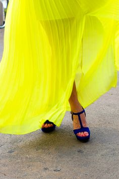 Lemon Skirt- Blue Heels #Inspiration #BrightColors #Spring #Fresh #BiographyTrend #TeenageDream #BiographyCollection #Biography