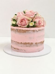 Into the rose garden Pretty Cakes, Cute Cakes, Beautiful Cakes, Amazing Cakes, Cute Birthday Cakes, Birthday Cakes For Women, Nake Cake, 21st Cake, Rustic Cake